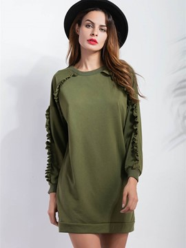 Ericdress Solid Color Loose Casual Frill Hoodie