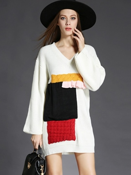 Ericdress Weave Knitting Patchwork Above Knee Sweater Dress