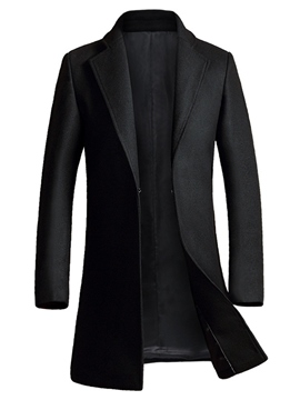 Ericdress Plain Cardigan Mid-Length Slim Vogue Men's Woolen Coat