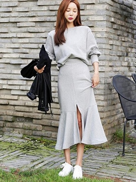 Ericdress Asymmetric Pleated Hoodie Skirt Suits