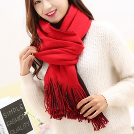 Ericdress Vogue Solid Color Tassels Scarf