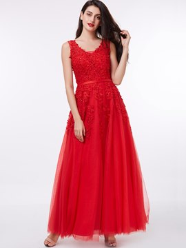 Ericdress Straps Appliques Beading Lace-Up Red Evening Dress