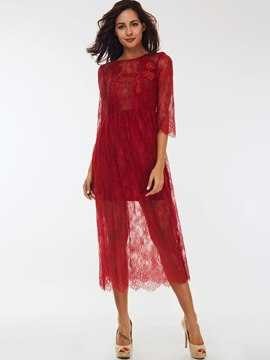 Ericdress Plain Open Back Straight Lace Dress