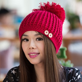 Ericdress Buttons Embellished Thick Crochet Hat
