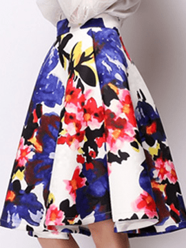 Ericdress Ladylike Floral Print Skirt