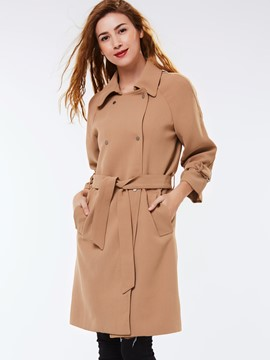 Ericdress Solid Color Lace-Up Belt Coat