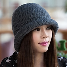 Ericdress Solid Color Rolled Brim Knitted Hat