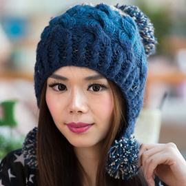 Ericdress Three Pompon Design Color Block Kintted Hat