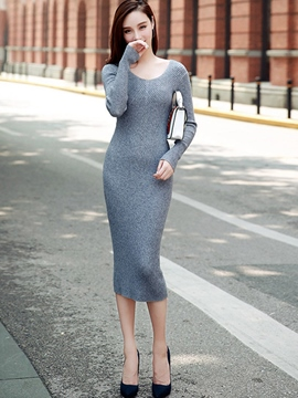 Ericdress Knitting Solid Collar Round Collar Sheath Dresses
