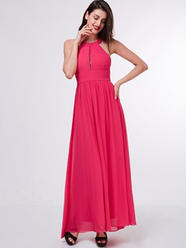 Ericdress A-Line Halter Draped Ankle-Length Evening Dress