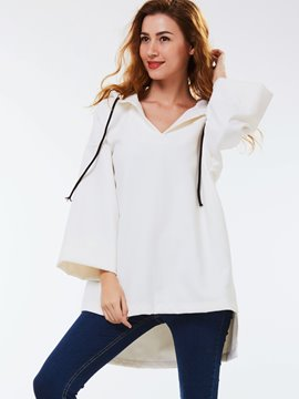 Ericdress Loose Lace-Up Hoodie