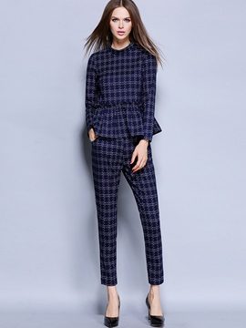 Ericdress Vintage Plaid Suit