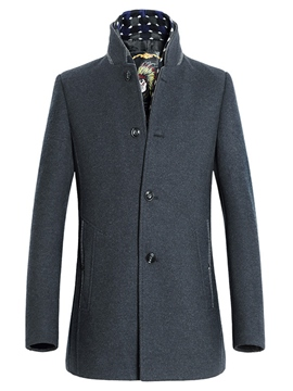 Ericdress Elegant Stand Collar Single-Breasted Men's Woolen Coat