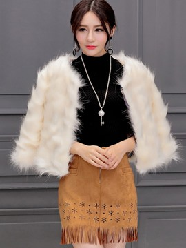 Ericdress Solid Color Faux Fur Elegant Coat