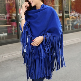 Ericdress Royalblue Suede Tassels Shawl