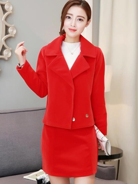 Ericdress Simple Notched Lapel Coat Leisure Suit