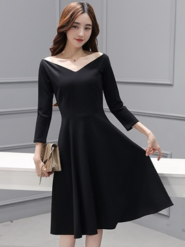 Ericdress Color Block V-Neck Off-The-Shoulder Casual Dress