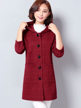 Ericdress Single-Breasted Solid Color Hooded Coat