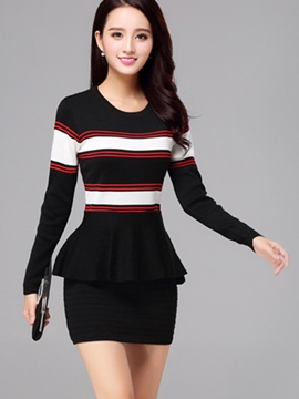 Ericdress Strip Knitting Round Collar Falbala Sweater Dress