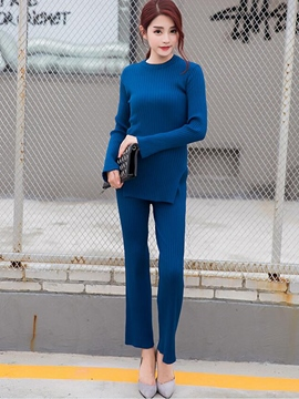 Ericdress Simple Solid Color Knitwear Leisure Suit