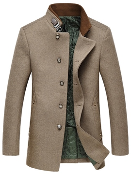 Ericdress Patchwork Stand Collar Vogue Slim Men's Woolen Coat
