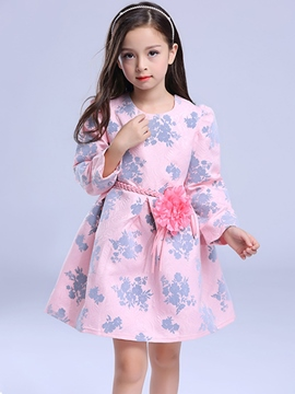 Ericdress Floral Print with Belt Girls Dress