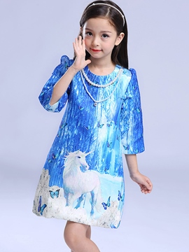 Ericdress Animal Printed Mesh 3/4 Length Sleeves Winter Dress