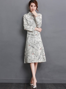 Ericdress Mandarin Collar Print Slim Casual Dress