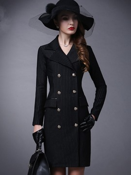 Ericdress Slim Stripped Double-Breasted Bodycon Coat
