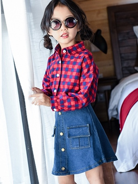 Ericdress Plaid Shirt Plain Skirt Button Pocket Girls Outfit