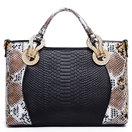 Upscale Serpentine Embossed Patchwork Handbag