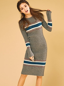 Ericdress Weave Knitting Strip Sweater Dress