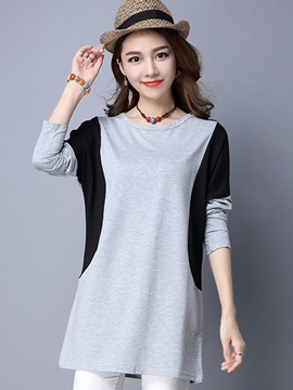Ericdress Color Block Simple T-Shirt