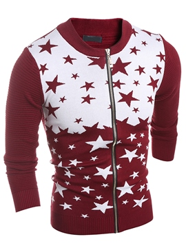 Ericdress Color Block Zip Star Jacquard Vogue Men's Knitwear