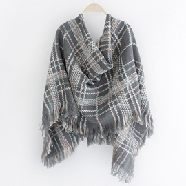 Ericdress Grid Design Knitted Fringed Scarf