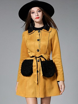 Ericdress Color Block Single-Breasted Slim Trench Coat