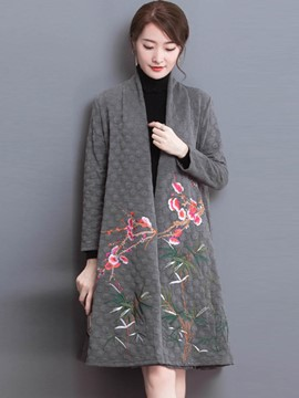 Ericdress Loose Embroidery Trench Coat