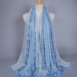 Ericdress Beautiful Flowers Design Voile Scarf