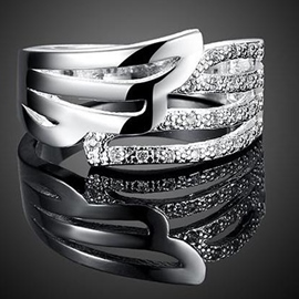 Ericdress Angel Wing Diamante Ring