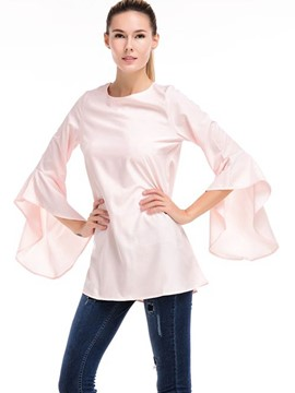 Ericdress Solid Color Flare Sleeve Blouse
