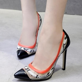 Ericdress Snake Patchwork Point Toe Pumps