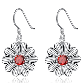 Ericdress Daisy Red Zircon Pendant Earrings