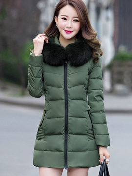 Ericdress Slim Faux Fur Collar Cotton Coat