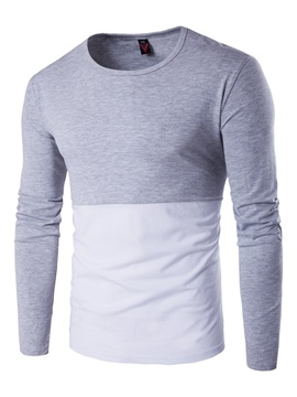 Ericdress Color Block Crew Neck Slim Men's T-Shirt