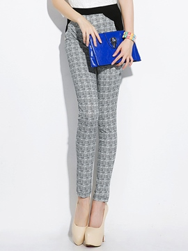 Ericdress Unique Color Block Plaid Leggings Pants
