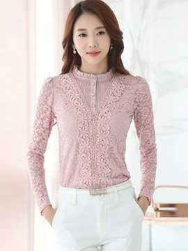 Ericdress Pink Floral Overlay Long Sleeve Blouse