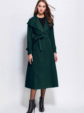 Ericdress Slim Turn Down Solid Color Coat
