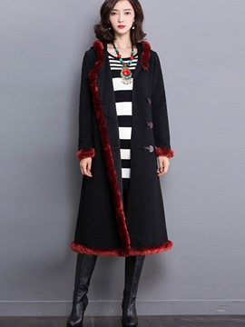Ericdress Long Horn-Button Coat