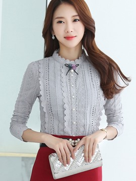 Ericdress Bead Lace Panel Blouse