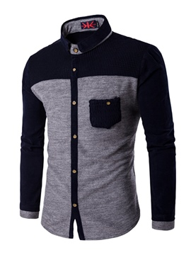 Ericdress Unique Knit Patchwork Long Sleeve Men's Shirt